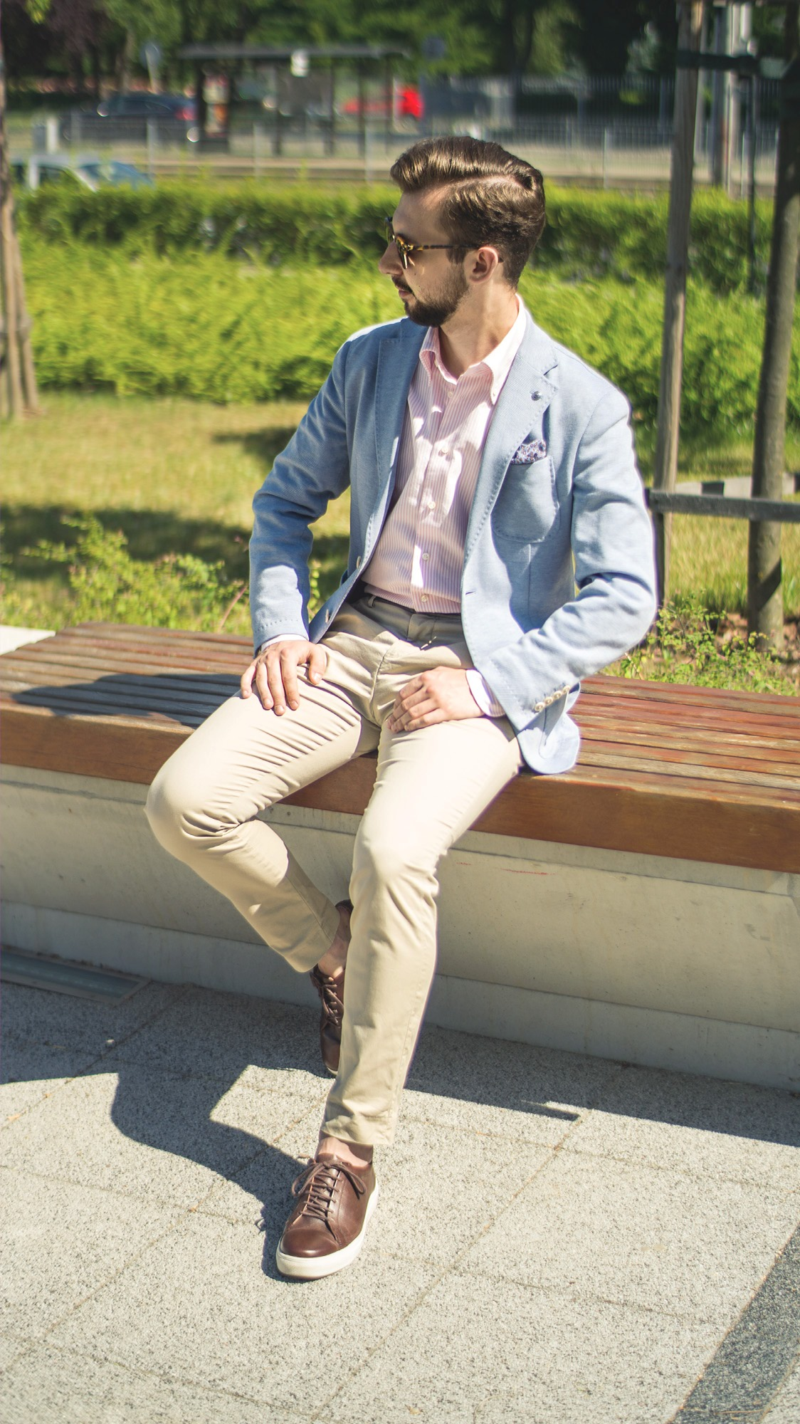 6df0f86a554c7 błękitna laguna dandy błękitna marynarka różowa koszula ocbd beżowe spodnie  ...
