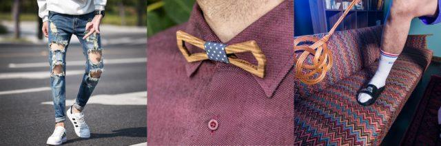 5 modnych rozwiązań które nie mają sensu okładka drewniane muszki jeansy z dziurami klapki i skarpety dandycore